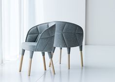 Stockholm based design studio Färg & Blanche has created the Emily chair for Swedish furniture company Gärsnäs. The small quilted chair was created as an addition to their larger Emma armchair. Furniture Decor, Modern Furniture, Furniture Design, Office Furniture, Furniture Inspiration, Design Inspiration, Chair Pads, Tub Chair, Modern Chairs
