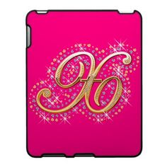 Gold & Diamonds - Elegant and Pink iPad Case with Your Initial ''X''.