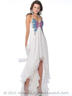 Off White Butterfly Style Prom Dress with High Low Hem Medium Image