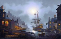 Moonlight Harbour  Maritime Art by St Ives Artist Donald MacLeod