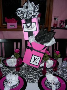 Sweet 16 Shopping Theme Centerpieces for your Sweet 16 at The Sands Atlantic Beach