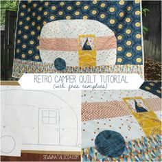 Retro Camper Quilt Tutorial I don't do appliqued pieces very often. But my great friend created an adult coloring book and she included this adorable travel camper page and I was instantly in love! I