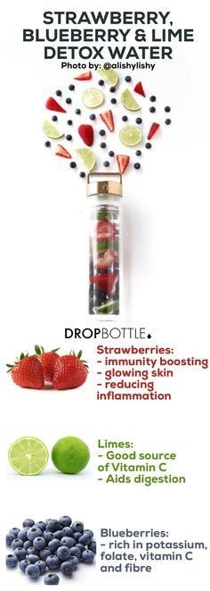 Click for 16 Free Detox Water Fruit Infused Water Recipes // www.dropbottle.co
