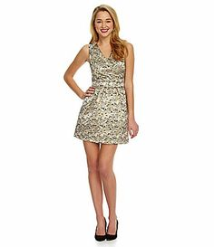 36 bucks! YES PLEASE! Skies Are Blue Floral Gold Foil Dress #Dillards