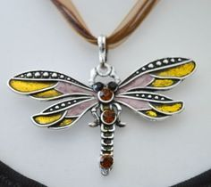Dragonfly-pendant-necklace-purple-green-brown-Womens-jewellery-UK