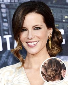 Looking to add a touch of Old Hollywood glamour to your hair routine? Opt for Kate Beckinsale& retro Up Hairstyles, Pretty Hairstyles, Wedding Hairstyles, Curly Hairstyle, Old Hollywood Hair, Hollywood Glamour, Glamour Hair, Make Up Braut, Wedding Hair And Makeup