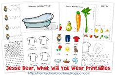 Jesse Bear What Will You Wear? Free Printables from Homeschool Creations