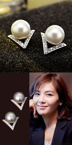 Unique Diamond Triangle Silver Pearl Inlay V Shape Lady Earring Studs is so cute! #shape #lady #earring #triangle #silver #pearl