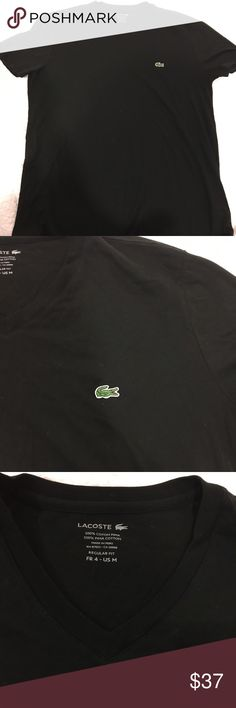 "NWOT! Men's Lacoste V Neck T-Shirt NWOT! MEN'S V-NECK PIMA COTTON JERSEY T-SHIRT v-neck tee, crafted in fine pima cotton jersey. In Black 100% Cotton, Regular Fit, Pima Cotton Jersey, Size Medium. Can be a ""Unisex"" t if you don't mind the high-cut v-neck. SMOKE FREE HOUSE! Bought in Bloomingdales. Lacoste Shirts Tees - Short Sleeve"