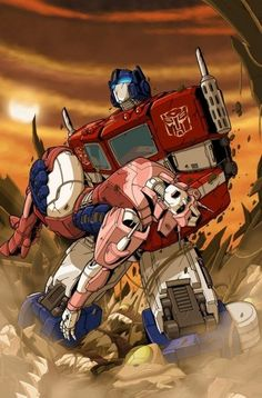 Transformers - Autobots - Optimus Prime with Elita One Transformers Optimus Prime, Transformers Characters, Cartoon Fan, Cartoon Shows, Gi Joe, Comic Books Art, Comic Art, Gundam, Samurai