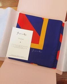Silk scarf packaging design. Made in Milan, Italy.  By Joyce and Nim