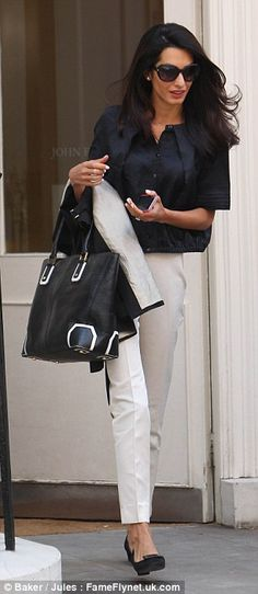 Amal Alamuddin in London after visit to John Frieda Salon.