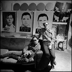 Robert Indiana and Andy Warhol in Warhol's loft, 1964, photographed by Bruce Davidson. -- Tumblr
