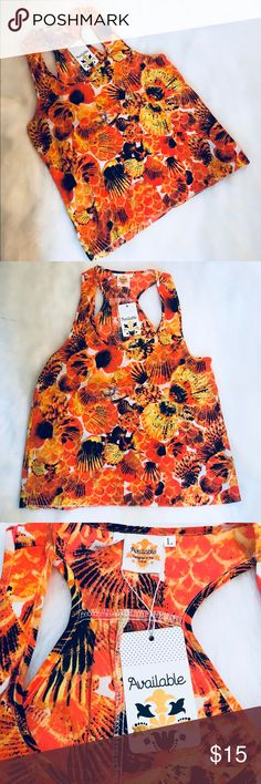 Silky Dress Top w Orange / Black Seashell Design L Cute Seashell Design Silky Dress Top Size Large.  Comfortable and Darling On. Available Tops