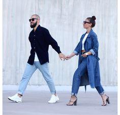 Her double denim. Street Style, Street Chic, Unisex Fashion, Mens Fashion, Fashion Outfits, Amo Jeans, Streetwear, Stylish Couple, Fashion Couple