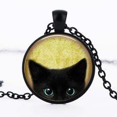 Vintage gato negro cristal colgante collar de la personalidad pendnat artes del…
