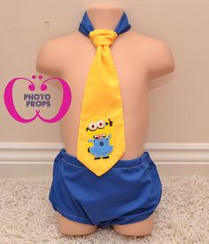 Cake Smash Boys Outfit Minion Set 1 Year Made in by CCPhotoProps, £13.00