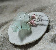 Blue Seaglass Earrings  Crystal Accented by ShatteredSmooth, $13.00
