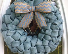 Baby Boy Blue Birth Announcement Mesh WreathDoor by CherylsCrafts1