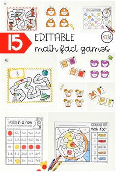 These 15 EDITABLE math fact games are packed with motivating ways to practice any facts under the sun: addition, subtraction, multiplication or even division. They make it so easy to create customized math centers for every group in class! Easy Math Games, Math Board Games, Math Activities, Abc Games, 1st Grade Math, Kindergarten Math, Teaching Math, Kindergarten Addition, Grade 1