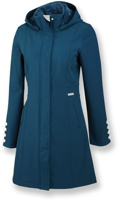 Merrell Geraldine long soft-shell jacket combines faux fur and stylish buttons with trusty wind and water resistant fabric.