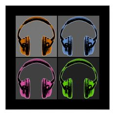Four Graphic Headphones Poster pop art Andy Warhol style.