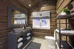 FINN – Innflyttingsklar HYTTEDRØM på utsiktstomt - Norefjell House, House Bathroom, Basement Inspiration, Cabin Interiors, Building A Cabin, Cottage Design, Cottage Interiors, Cabin Bathrooms, Cottage Style Interiors