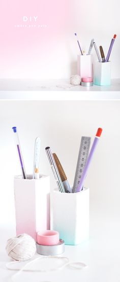 Dress Your Desk With These 15 DIY Pencil Cups / Storage for office supllies / Büromaterialien organisieren