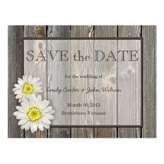 Barn Wedding Save the Date Rustic Daisies Save the Date Postcard
