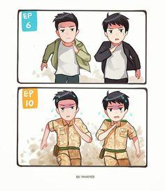 [Drama Descendants of the Sun 태양의 후예 W Kdrama, Kdrama Memes, Descendants Of The Sun Wallpaper, Decendants Of The Sun, Chibi, Song Joon Ki, Sun Song, Drama 2016, Soo Jin