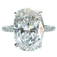 5.00 Carat GIA Cert Oval Diamond Platinum Engagement Ring | From a unique collection of vintage engagement rings at…