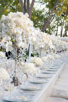 Bobka Baby and Bridal: Extraordinary White Wedding Decor Reception Decorations, Wedding Centerpieces, Wedding Table, Orchid Centerpieces, Reception Table, Decor Wedding, Table Centerpieces, Table Decorations, Garden Wedding