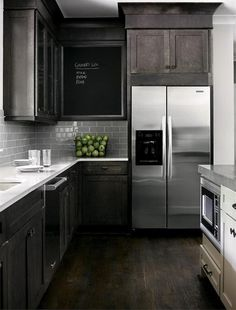 dark and light cabinets, dark floor, gray subway tile. Stylish-kitchen-Design-Ideas-with-a-Combination-of-Modern-and-Traditional-Concepts