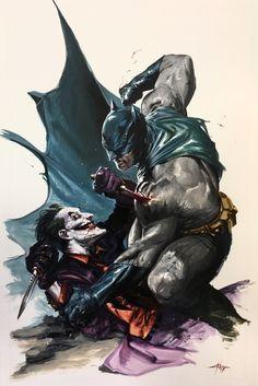 "longlivethebat-universe: ""Batman vs The Joker by Gabriele Dell'Otto """