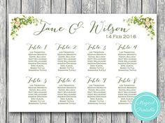 Printable Custom Wedding Seating Chart Wedding by BrideandBows