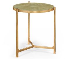 Round shagreen green side table