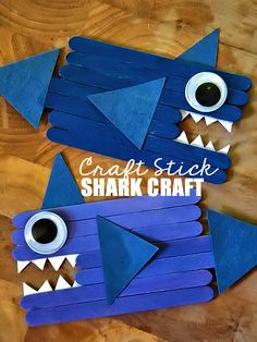 our kids Craft Stick Shark Craft Summer Crafts For Kids, Fun Crafts For Kids, Craft Activities For Kids, Toddler Crafts, Preschool Crafts, Art For Kids, Kindergarten Crafts Summer, Kid Art, Spring Crafts