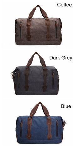 c6dd3ff98b Leather Trimmed Waxed Canvas Travel Bag Duffle Bag Weekender Bag Canvas  Weekender Bag