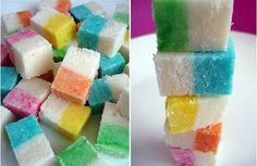 RAINBOW COCONUT ICE How cool are these ? Just perfect for a rainbow party and homemade, what else could I ask ? Thank you Kate at Mini Eco. Coconut Ice Recipe, Coconut Candy, Rainbow Treats, Rainbow Food, Rainbow Stuff, Cake Rainbow, Rainbow Theme, Homemade Sweets, Homemade Candies