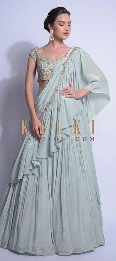 Sky Blue Lehenga With Ready Stitched Ruffle Pallu And Embellished Crop Top Online - Kalki Fashion Lehenga Top, Blue Lehenga, Indian Lehenga, Anarkali, Designer Party Wear Dresses, Indian Designer Outfits, Lehenga Designs, Saree Blouse Designs, Indian Attire