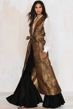 Nasty Gal Go for Baroque Maxi Vest - Sale: Newly Added African Fashion, Indian Fashion, Womens Fashion, Designer Wear, Designer Dresses, Moda India, Hijab Fashion, Fashion Dresses, Site Mode