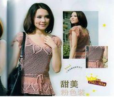 Crochetemoda: Blusa Rosa de Crochet III