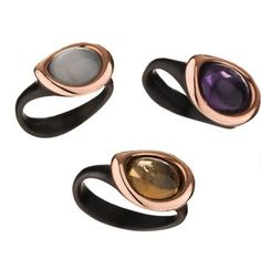 Black plated silver rings with rose gold and semi-precious stones {citrine, moonstone amethyst} - from Fluidity Collection