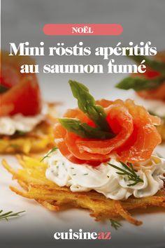 Les mini röstis apéritifs au saumon fumé sont parfaits pour la soirée de Noël. #recette#cuisine#rostis#saumon#aperitif #apero #noel#fete#findannee #fetesdefindannee