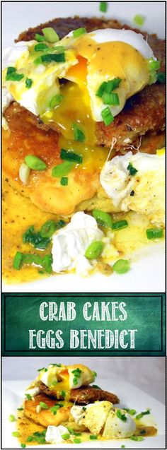 """Inspired By eRecipeCards: Crab Cakes Eggs Benedict - 52 Holiday Breakfast Recipes (And a Great Lent """"No Meat on Friday"""" Idea) Crab Recipes, Egg Recipes, Brunch Recipes, Cooking Recipes, Recipies, Brunch Foods, Breakfast Dishes, Breakfast Casserole, Breakfast Recipes"""