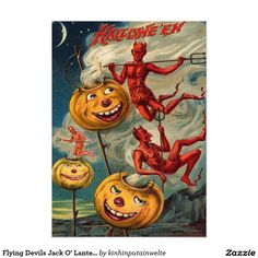 Flying Devils Jack O' Lantern Smoke 5x7 Paper Invitation Card