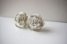 de Cor's Handmade Jewelry: Handmade Silver Rose Studs Earrings, Wired Chinese Knot Jewelry