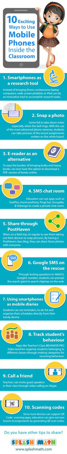 10 Exciting Ways to Use Mobile Phones In the Classroom Infographic - http://elearninginfographics.com/10-exciting-ways-to-use-mobile-phones-in-the-classroom-infographic/