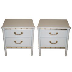 Henry Link White Faux Bamboo Nightstands - A Pair on Chairish.com