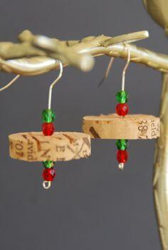Wine Cork Earrings - Holiday
